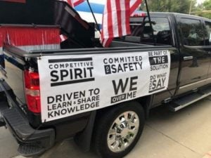 Core values on parade truck